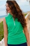 Emerald Green Zipper Top Golf Shirts