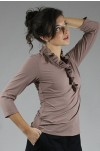 Sandy Ruffled Taupe Golf Shirts