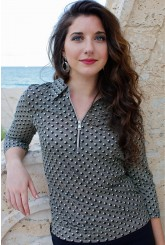 Women's Black & White Dot Zip Top Shirts